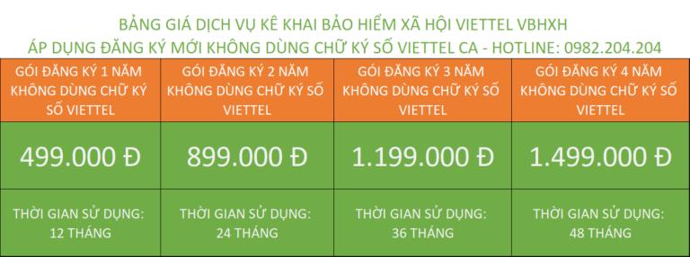 Bảng giá đăng ký vBHXH mới