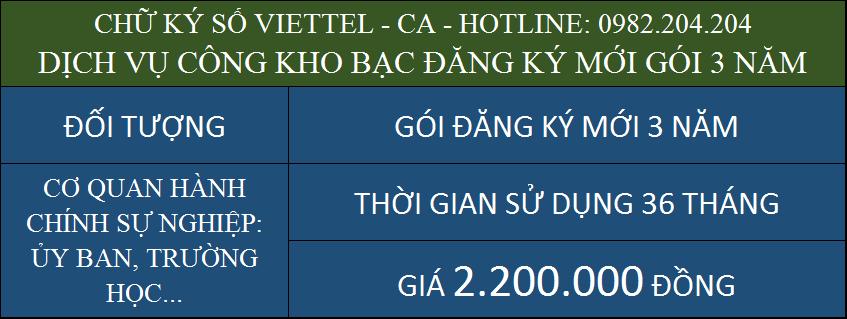 Chữ ký số Viettel giá rẻ ký dịch vụ công kho bạc cấp mới gói 3 năm