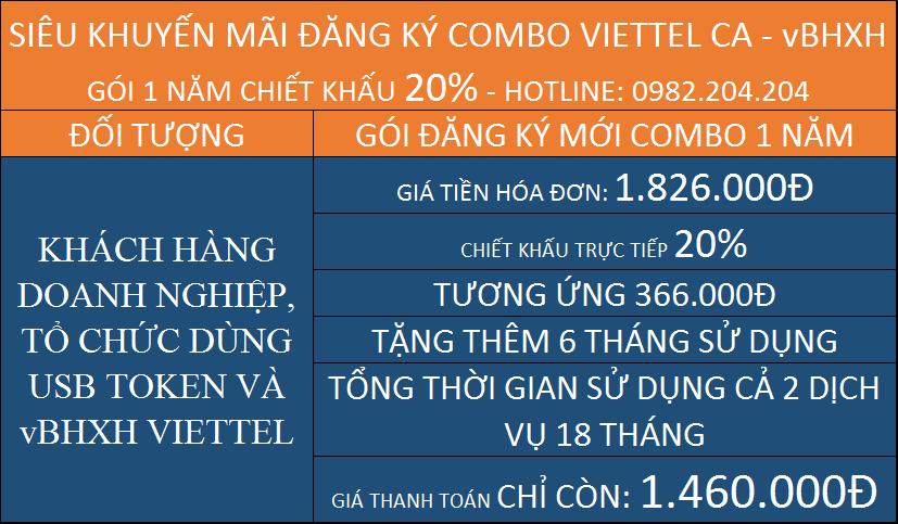 Combo chữ ký số Viettel và vBHXH gói 1 năm đăng ký mới