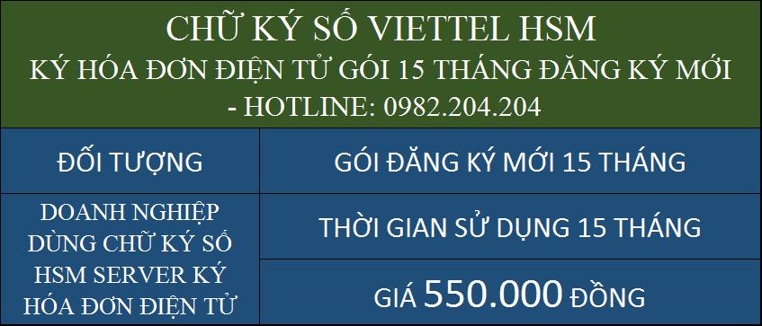 Dịch vụ chữ ký số HSM Viettel giá rẻ ký hóa đơn điện tử cấp mới gói 15 tháng