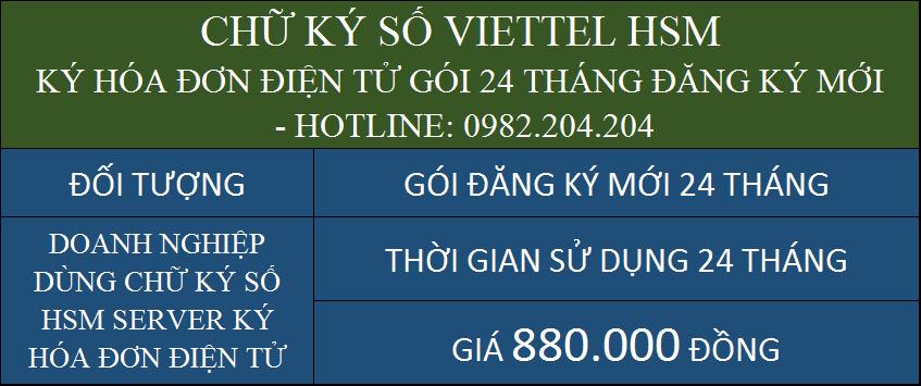 Dịch vụ chữ ký số HSM Viettel giá rẻ ký hóa đơn điện tử cấp mới gói 24 tháng