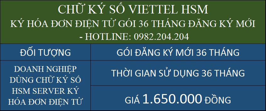 Dịch vụ chữ ký số HSM Viettel giá rẻ ký hóa đơn điện tử cấp mới gói 36 tháng