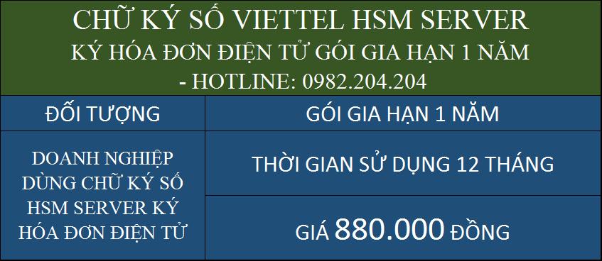 Gia hạn chữ ký số HSM Viettel ký hóa đơn điện tử gói 1 năm
