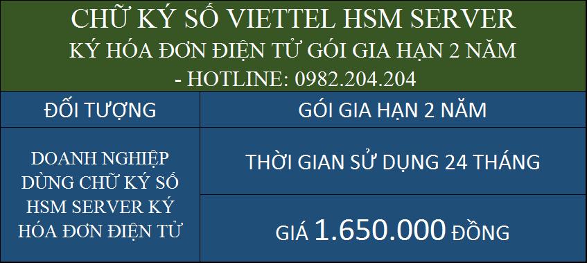 Gia hạn chữ ký số HSM Viettel ký hóa đơn điện tử gói 2 năm