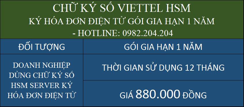 Gia hạn chữ ký số Viettel giá rẻ HSM ký hóa đơn điện tử gói 1 năm