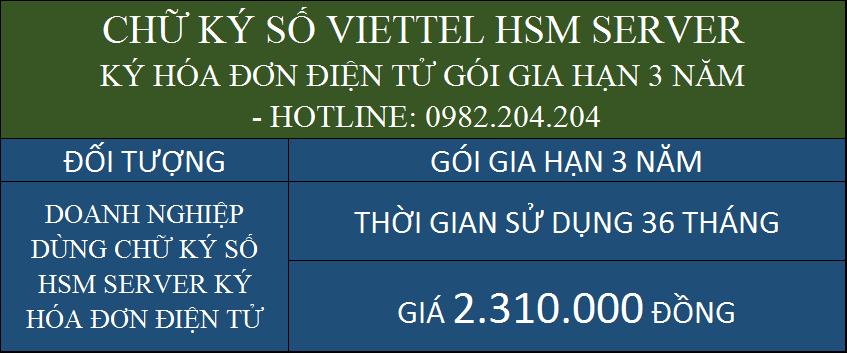 Gia hạn chữ ký số Viettel giá rẻ HSM ký hóa đơn điện tử gói 3 năm