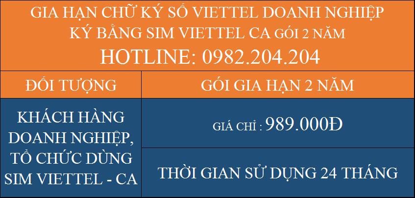 Gia hạn chữ ký số Viettel giá rẻ doanh nghiệp ký bằng Sim CA gói 2 năm