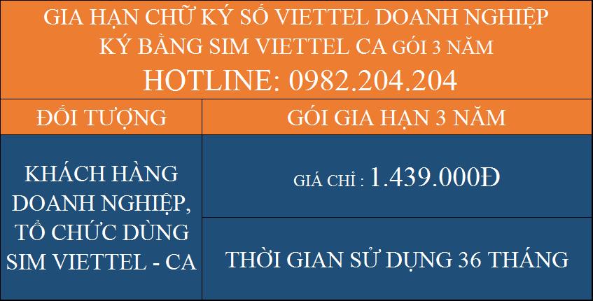 Gia hạn chữ ký số Viettel giá rẻ doanh nghiệp ký bằng Sim CA gói 3 năm