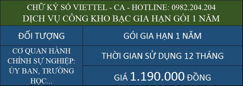 Gia hạn chữ ký số Viettel giá rẻ ký kho bạc gói 1 năm