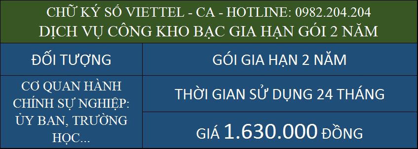 Gia hạn chữ ký số Viettel giá rẻ ký kho bạc gói 2 năm