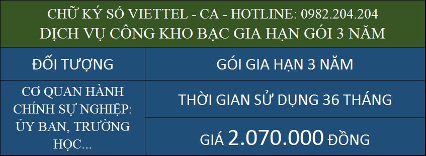 Gia hạn chữ ký số Viettel giá rẻ ký kho bạc gói 3 năm