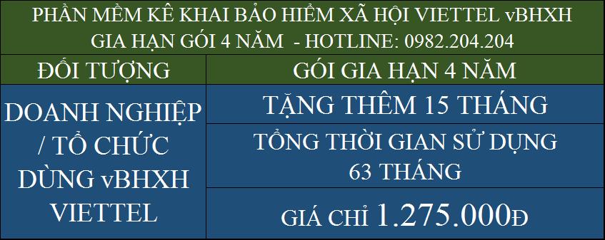 Gia hạn phần mềm BHXH Viettel gói 4 năm giá 1275000Đ