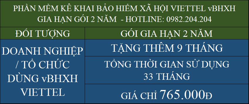 Gia hạn vBHXH Viettel gói 2 năm giá 765000Đ
