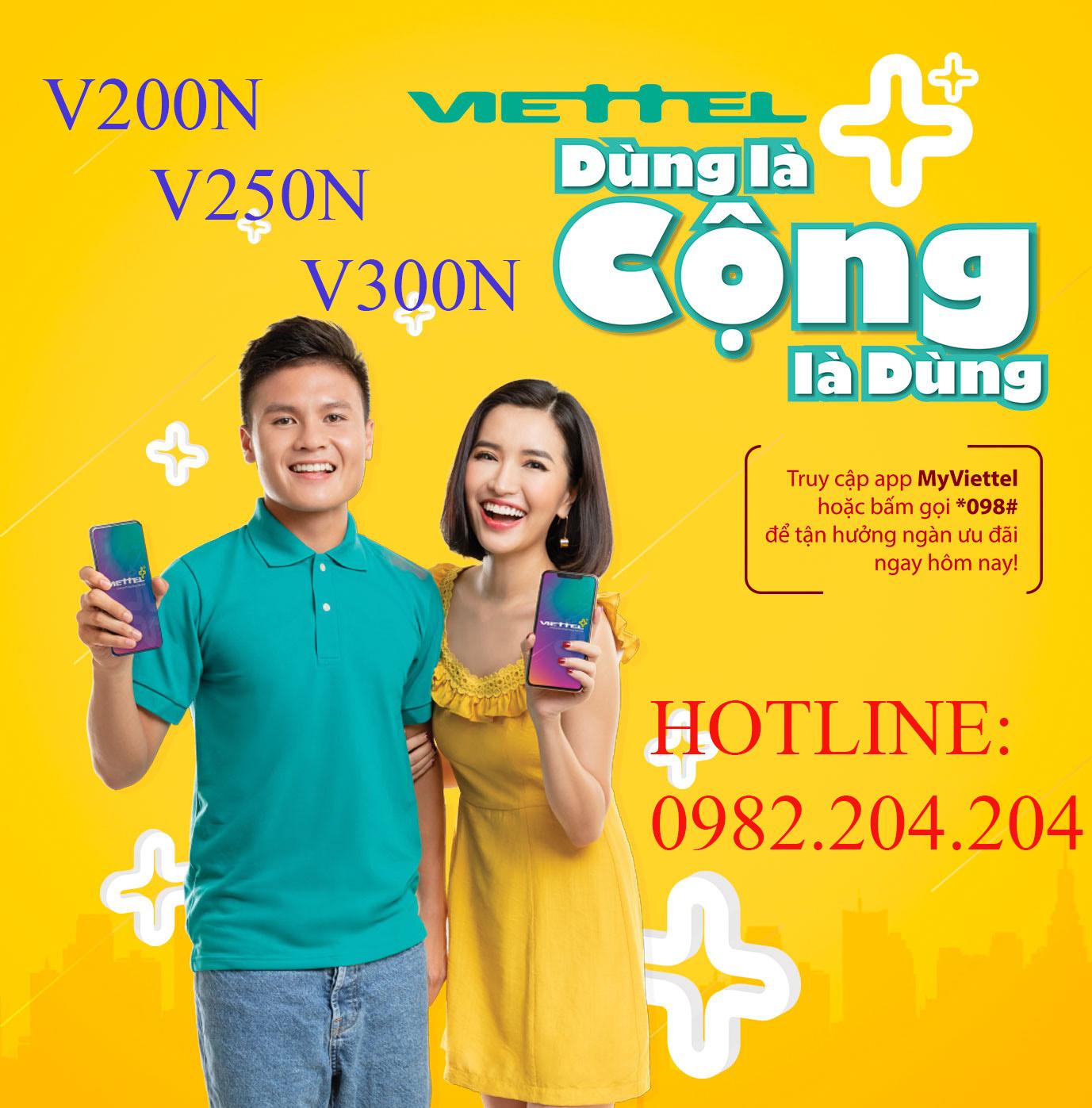 Khuyến mãi V200N V250N V300N Viettel.