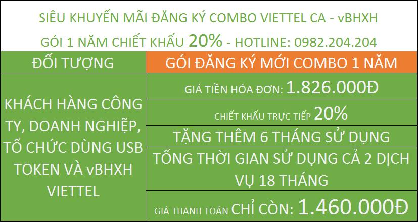 đăng ký chữ ký số Viettel giá rẻ combo kèm vBHXH gói 1 năm