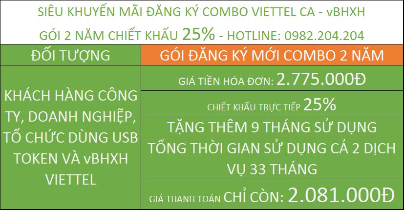 đăng ký chữ ký số Viettel giá rẻ combo kèm vBHXH gói 2 năm
