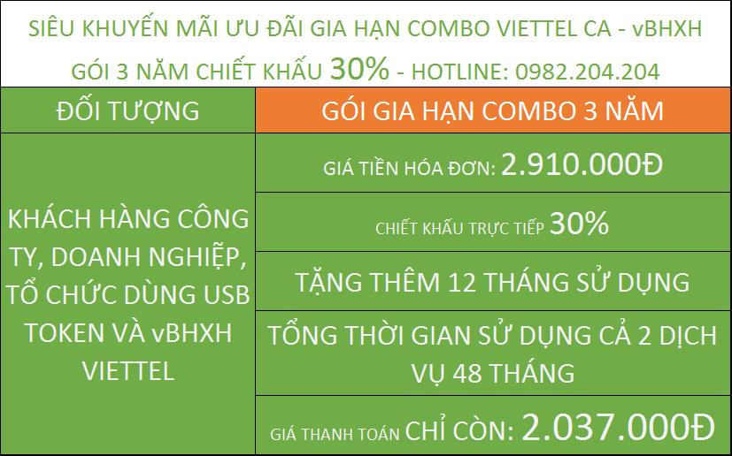 gia hạn chữ ký số Viettel combo giá rẻ kèm vBHXH gói 3 năm