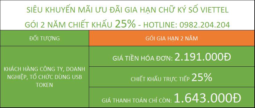 Bảng Giá Gia Hạn Chữ Ký Số Viettel gói 2 năm