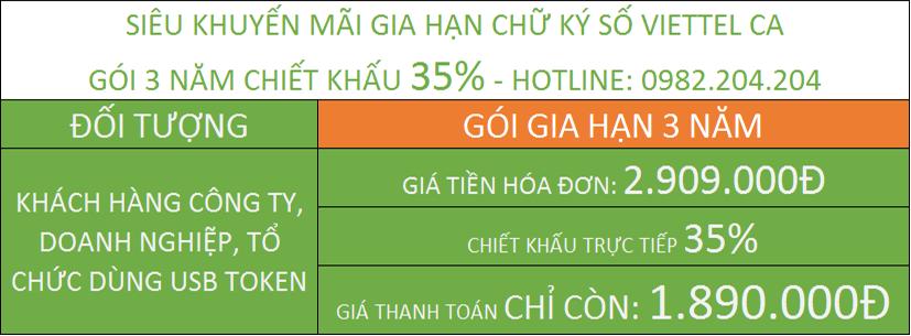 Bảng Giá Gia Hạn Chữ Ký Số Viettel gói 3 năm.