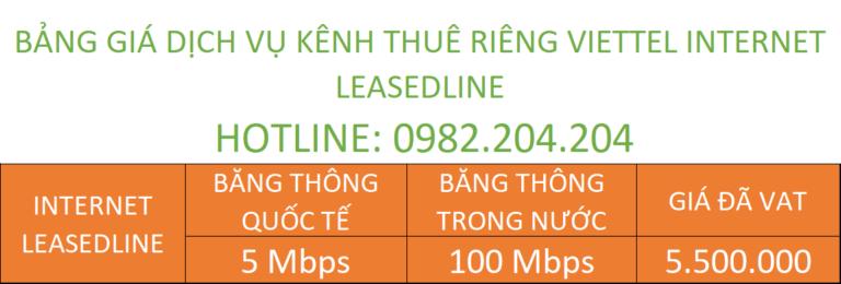 Bảng giá dịch vụ kênh riêng internet leased line Viettel