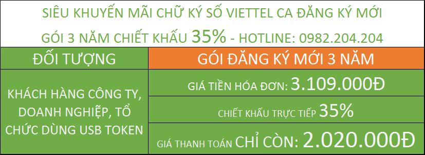 Chữ ký số viettel TPHCM giá rẻ gói 3 năm