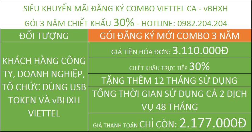 Chữ ký số viettel khuyến mãi combo vBHXH gói 3 năm