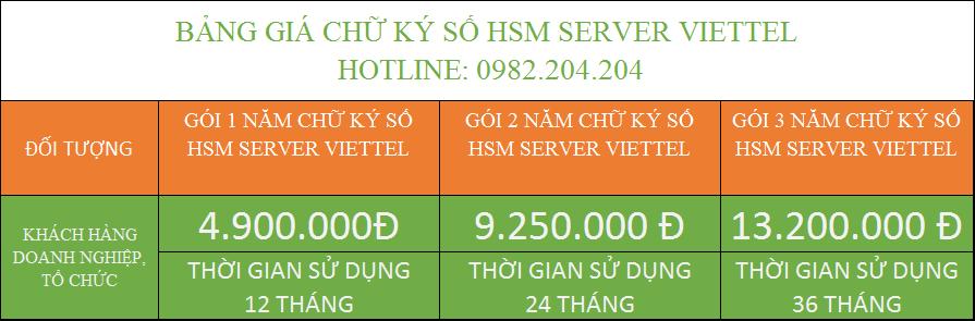 Đăng ký chữ ký số HSM Server Viettel TPHCM