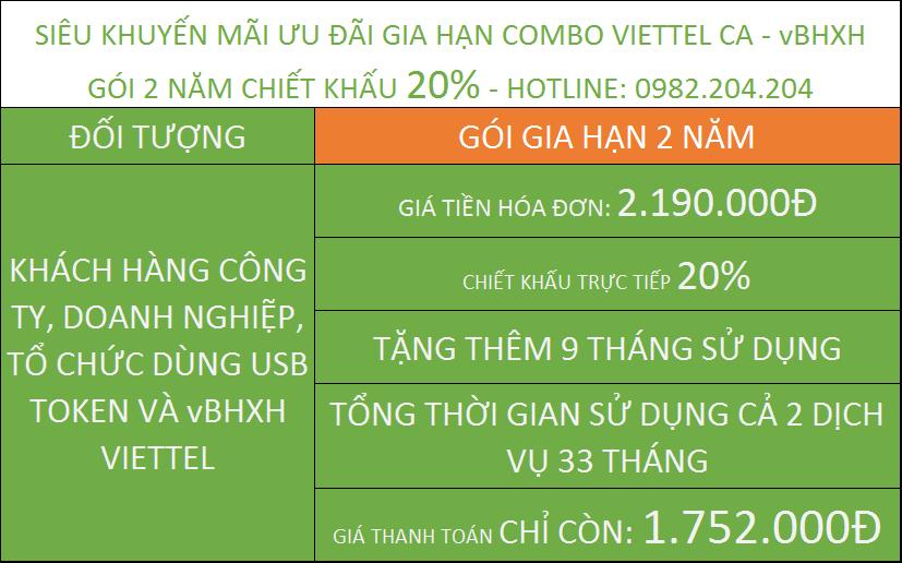Gia hạn chữ ký số Viettel giá rẻ TPHCM combo vBHXH gói 2 năm