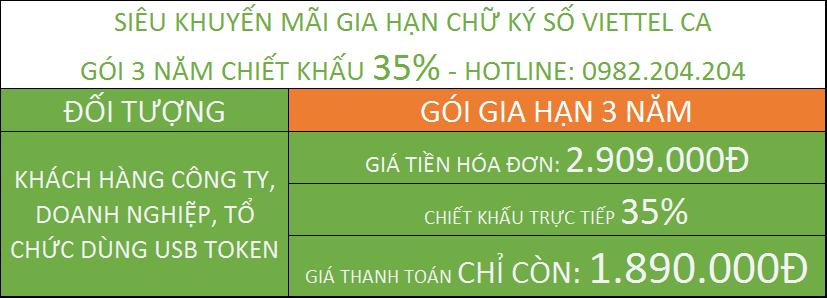Gia hạn chữ ký số Viettel tại TPHCM giá rẻ gói 3 năm.