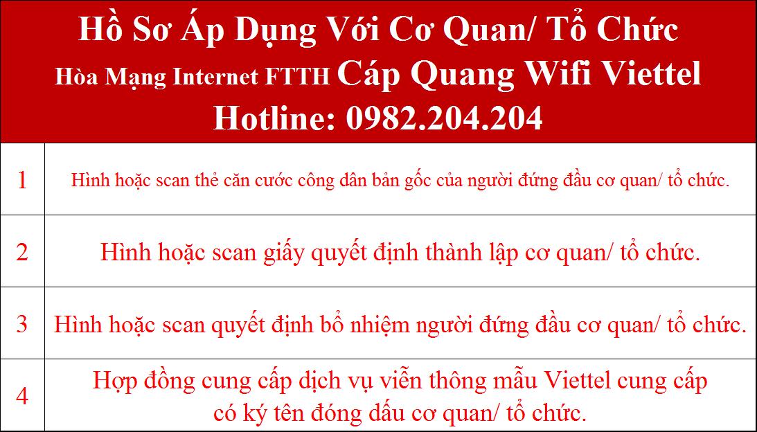 Hồ sơ lắp mạng internet cáp quang Viettel cơ quan