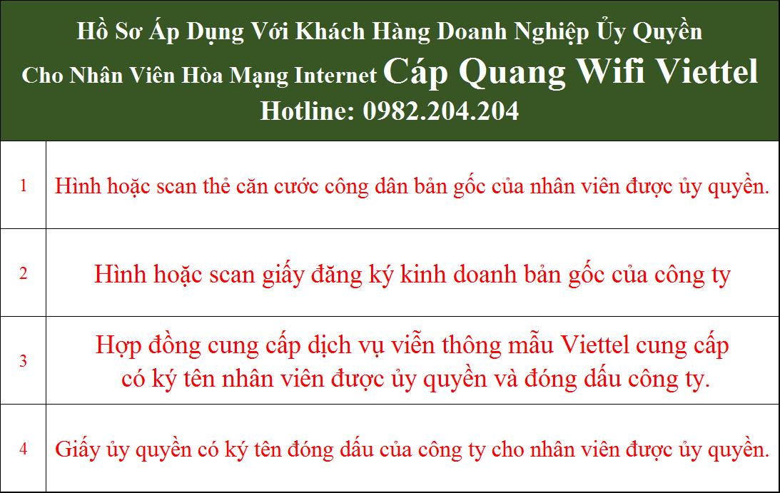 Hồ sơ lắp mạng internet cáp quang Viettel doanh nghiệp ủy quyền