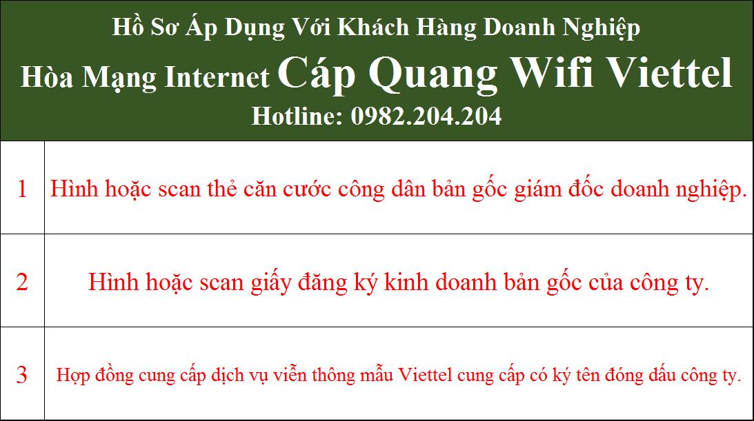 Hồ sơ lắp mạng internet cáp quang Viettel doanh nghiệp