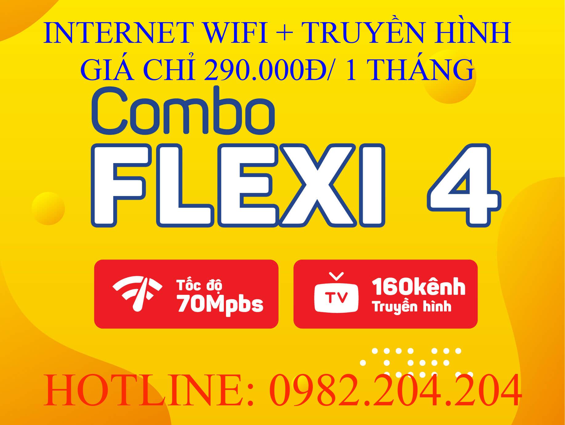 Lắp cáp quang Viettel và truyền hình Viettel combo flexi 4