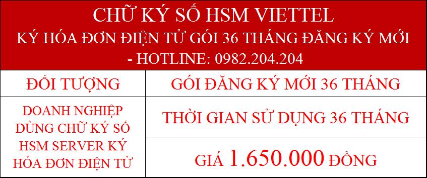 15.Chữ ký số Viettel Server cấp mới 36 tháng ký hóa đơn điện tử phí 1.650.000Đ