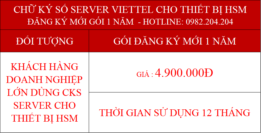 16.Chữ ký số Viettel Server cấp mới 1 năm cho tổ chức giá 4.900.000Đ
