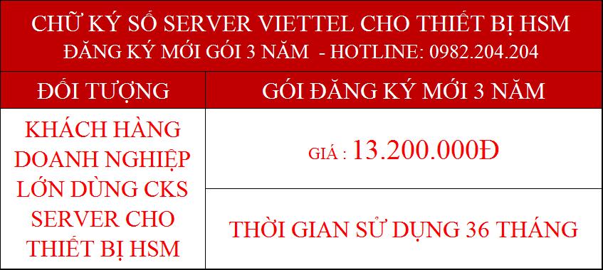 18.Chữ ký số Viettel Server cấp mới 3 năm cho tổ chức giá 13.200.000Đ