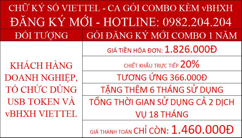 19.Chữ ký số Viettel combo kèm vBHXH gói 1 năm giá chỉ còn 1.460.000Đ