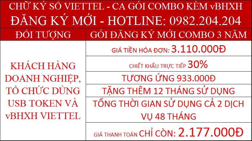 21.Chữ ký số Viettel combo kèm vBHXH gói 3 năm giá chỉ còn 2.177.000Đ