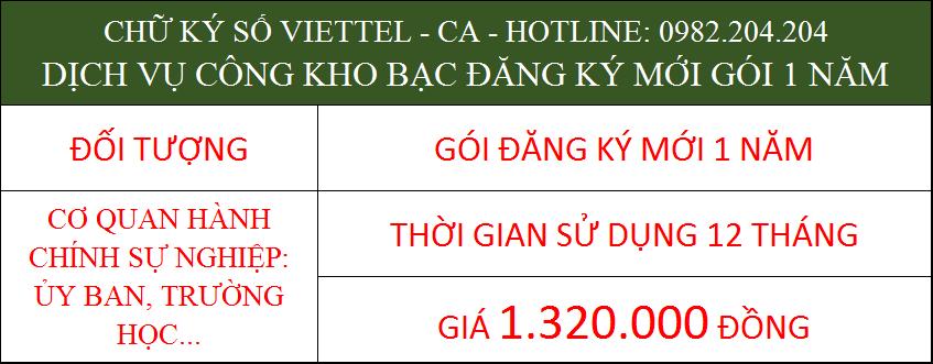 22.Chữ ký số Viettel cá nhân trong cơ quan ký kho bạc gói 1 năm phí 1.320.000Đ