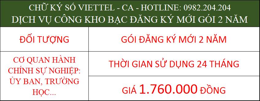 23.Chữ ký số Viettel cá nhân trong cơ quan ký kho bạc gói 2 năm phí 1.760.000Đ