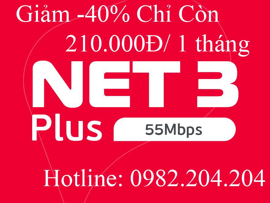 3.Lắp mạng internet Cáp Quang Wifi Viettel Gói Net 3 Plus phí hàng tháng 210.000Đ