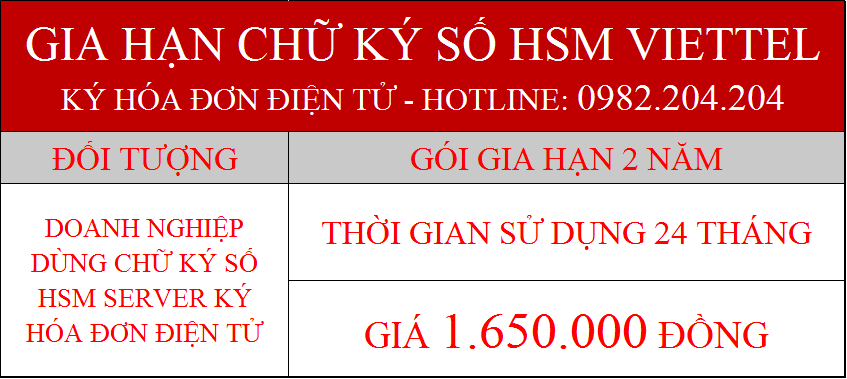 38.Chữ ký số Viettel Server phí gia hạn 2 năm ký hóa đơn điện tử giá 1650000Đ