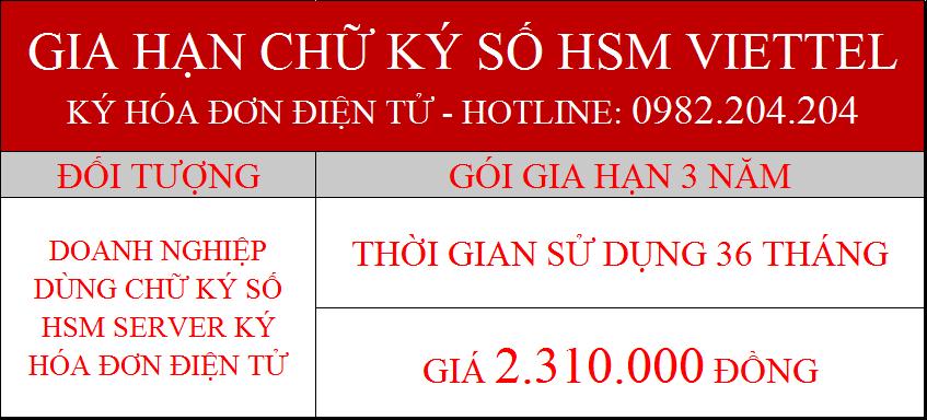 39.Chữ ký số Viettel Server phí gia hạn 3 năm ký hóa đơn điện tử giá 2310000Đ