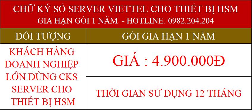 40.Chữ ký số Viettel Server cho tổ chức gia hạn 1 năm phí 4900000Đ