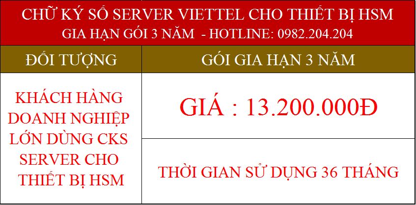 42.Chữ ký số Viettel Server cho tổ chức gia hạn 3 năm phí 13200000Đ