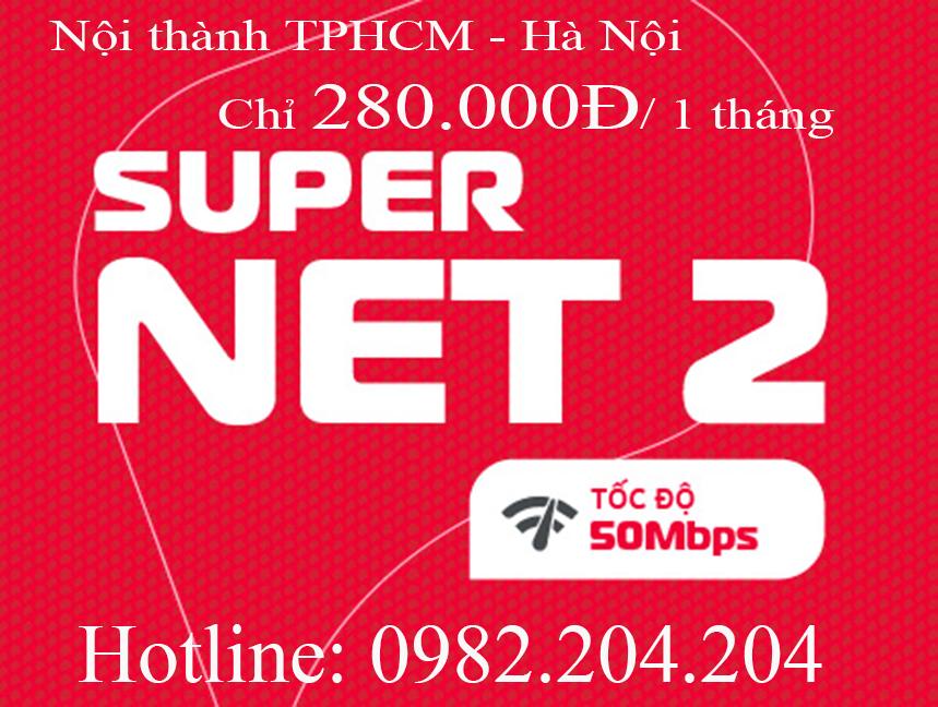 42.Lắp mạng internet Viettel gói Supernet 2 nội thành TPHCM Hà Nội phí hàng tháng 280.000Đ
