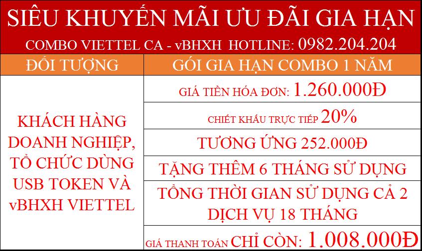 43.Chữ ký số Viettel gói gia hạn combo 1 năm kèm vBHXH phí chỉ còn 1.008.000Đ