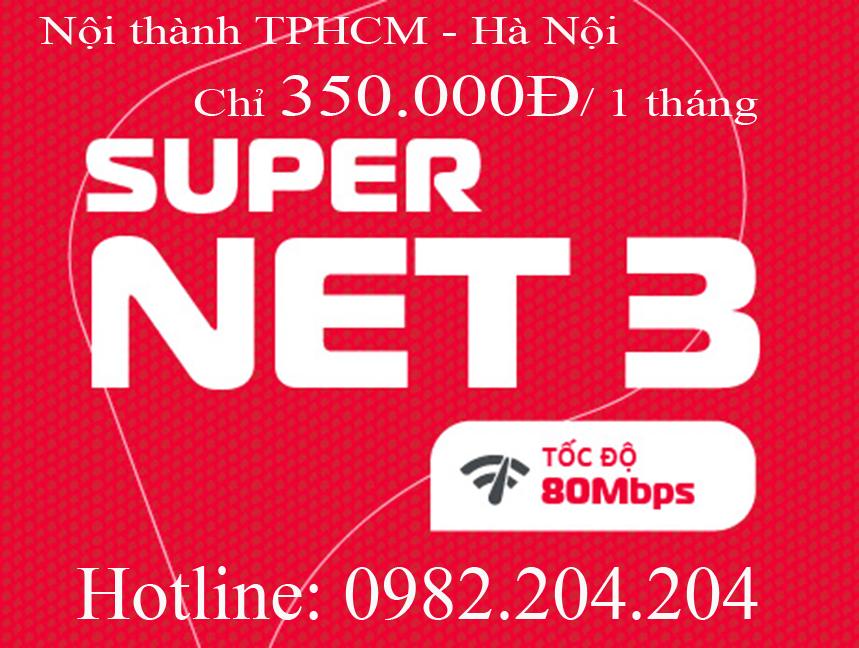 43.Lắp mạng wifi Viettel gói Supernet 3 nội thành TPHCM Hà Nội phí hàng tháng 350.000Đ