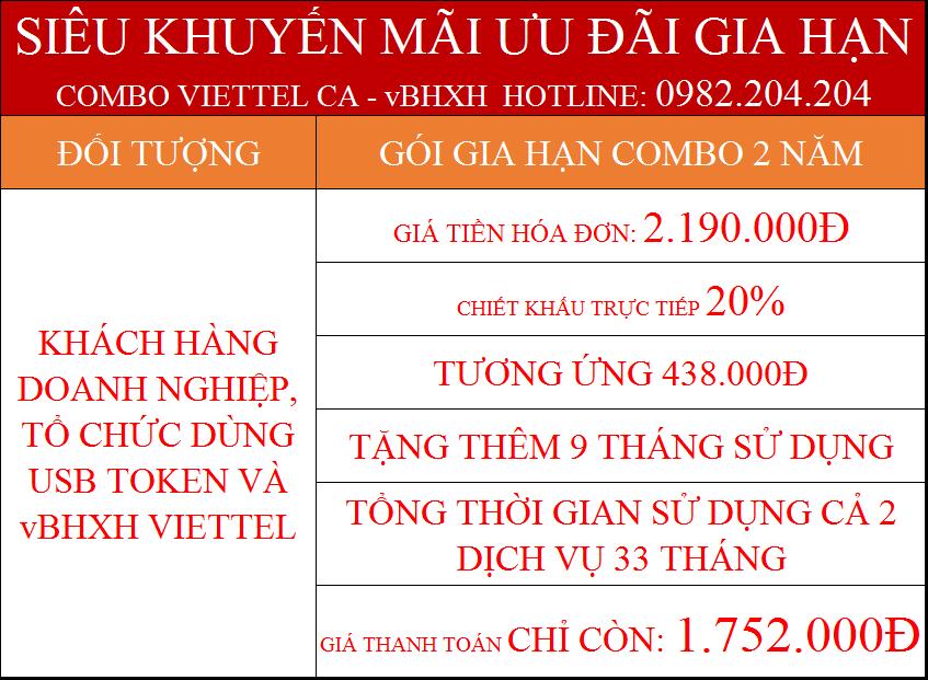 44.Chữ ký số Viettel gói gia hạn combo 2 năm kèm vBHXH phí chỉ còn 1.752.000Đ