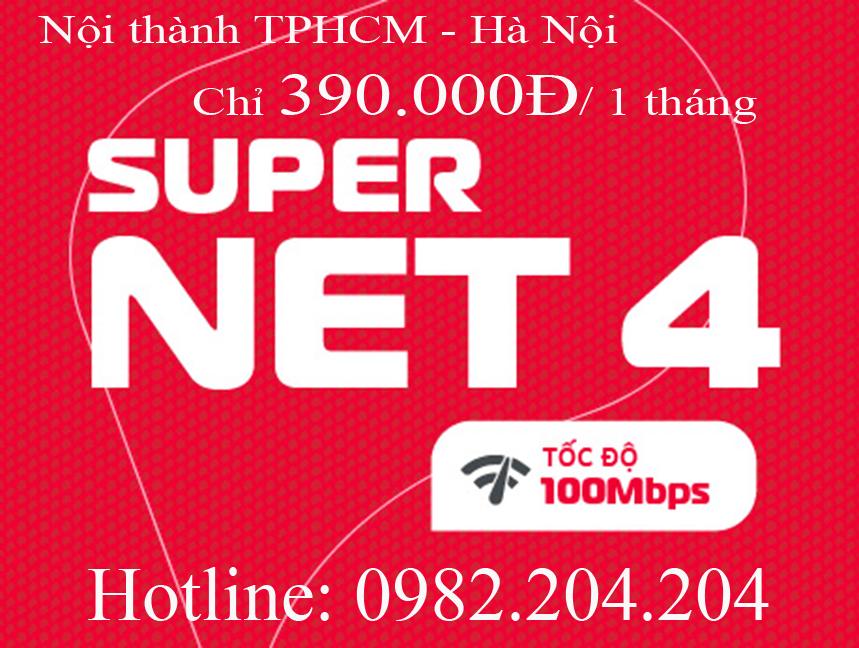 44.Lắp mạng cáp quang Viettel gói Supernet 4 nội thành TPHCM Hà Nội phí hàng tháng 390.000Đ